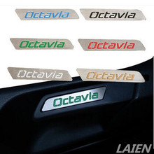 Fit for Skoda Octavia accessories Special stainless steel handle label/patch color seat lift wrench decorative sticker
