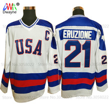 2017 Dwayne Mens Usa Ice Hockey Jersey Vintage 1980 Miracle On Ice Team USA Mike Eruzione 21 Winter Sport Wear White
