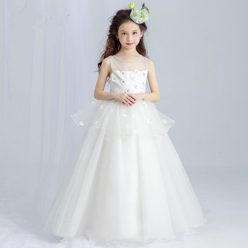 Long White Girls Dress Ball Gown Layers Appliques Flower Girl Vestido for Party 2019 Girl Clothes 4 6 8 10 12 14 Years RKF174024