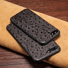 Real Genuine Cow Leather Cases For iPhone 7 Plus Cell Phone Luxury Slim 7Plus Cover 3D Ostrich Skin Design