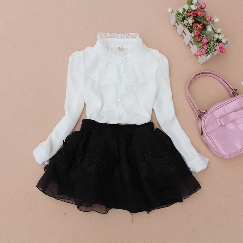 b0663697 New 2018 Fall School Girl Shirt Chiffon Lace Baby Teenage Girls Blouse  White Toddler Children's Long Sleeve Kids Tops JW0263A