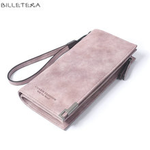 BILLETERA High Capacity Fashion Women Wallets Long Dull Polish Retro PU Leather Wallet Clutch Coin Purse Ladies