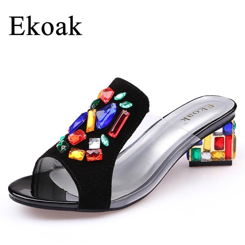 Ekoak New 2017 women High Heels rhinestone Genuine Leather Cow Suede Sandals party shoes fashion ladies women dress shoes woman <br>