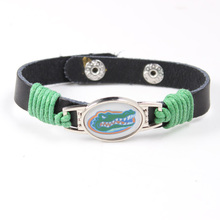 Florida Gators Genuine Leather Cuff Bracelets 12mm Adjustable Mens Black Leather Bracelet 2017 Football Baseball Jewelry