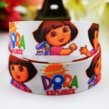 7/8'' (22mm) Dora Cartoon Character printed Grosgrain Ribbon party decoration ribbons OEM X-00816 10 Yards