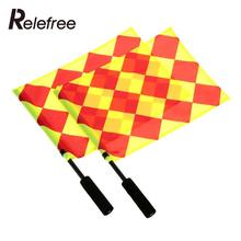 Relefree 2Pcs Soccer Referee Flag Football Judge Sideline Fair Play use Sports Match Football Linesman Flags Referee Equipment