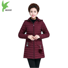 Plus Size Women Winter Down cotton Jacket Coat New Fashion Middle age Female Cotton Parkas Light Thin Slim Warm Outerwear OKXGNZ(China)