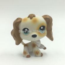 Pet Shop Spaniel Dog #344 White Brwon Long Hair Ear Cocker Puppy Cute Kids Toys Figure Free Shipping