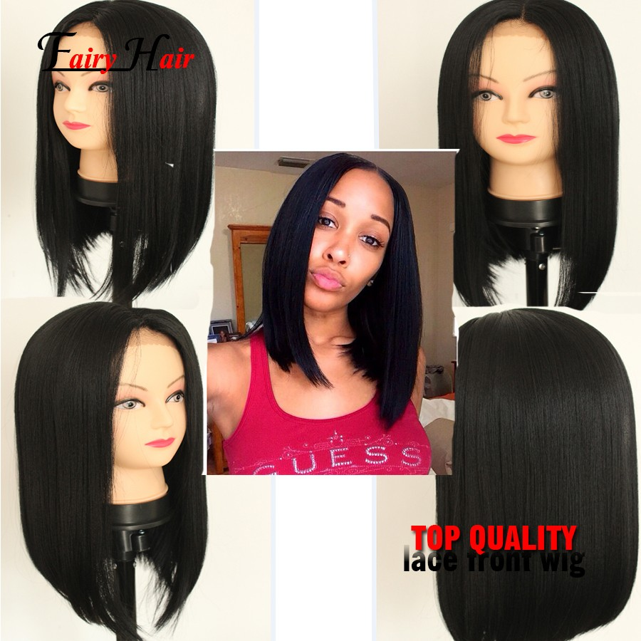 Short Bob Black Silky Straight Synthetic Lace front Wigs high temperature heat resistant hair fiber Lace Full Front BOBO Wigs<br><br>Aliexpress