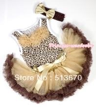 Leopard Pettitop with Goldenrod Rosettes with Light Dark Brown Newborn Pettiskirt & Brown Headband Goldenrod Satin Bow MANP023(Hong Kong)