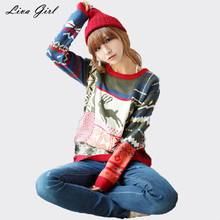 Liva Girl 2017 Spring Pattern Christmas Deer Sweater Women Pullovers Fashion Long Sleeve Casual Ladies Sweaters