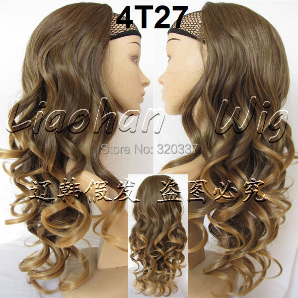 3/4 Half Wig Heat Resistant Synthetic Wig Hair 200g 24 Ombre Wig Hairpieces Half Wigs for Women 4T27 Free Shipping<br><br>Aliexpress