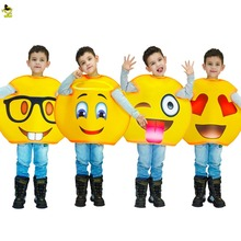 New arrivals funny emoji costumes kids Children fancy mascot Christmas halloween cute face cosplay costume suit for role paly(China)