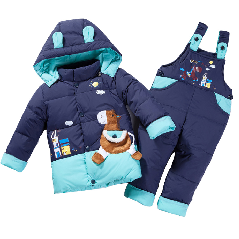 cartoon baby Children boys girls winter warm down jacket suit set thick coat+jumpsuit baby clothes set kids jacket animal Horse<br>