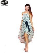 Buy 2017 Summer New Nightclub Style Sexy Dress Chiffon Floral Harness Front Short Long Dress Belt Club Wear Women Dress for $16.33 in AliExpress store
