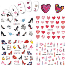 1 Sheets Fashion DIY lipstick/High Heel/Love Heart Image for Nails Tips Decor Nail Art Water Transfer Sticker Decals TRBN589-600(China)