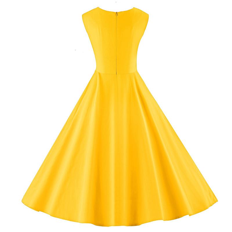 Kostlich 6 Color Retro Summer Dress Women 2017 Sleeveless Hepburn 50s Vintage Dress Elegant Big Swing Rockabilly Party Dresses (11)