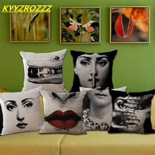 Retro Fornasetti Red Lips, Facial Expressions Home Decor Sofa Car Seat Decorative Cushion Cover Pillow Case Capa Almofada