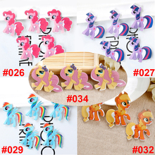 50pcs Mixed Little Cute Pony Flatback Resin Kawaii Cartoon Character Horse Planar Resin DIY Craft for Phone & Home Decoration(China)