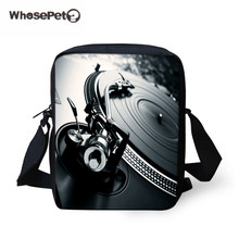 WHOSEPET DJ Music Messenger Bags for Men, Record Player Male Crossbody Bags,Kids Boys Mini Shoulder Bags,Mens 3D Cross Body bag(China)