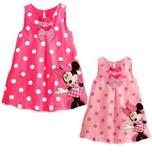 Fashion Baby Kids Girls Clothes Dresses Minnie Polka Red Pink Dot Bows Casual Cotton Party Short Dress 1 2 3 4 5 6 Years