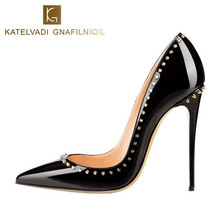 Buy Rivets Shoes Woman High Heels Pointed Toe Sexy 12CM Heels Black Patent Leather Ladies Shoes Fashion Wedding Shoes Pumps K-035 for $43.96 in AliExpress store