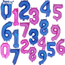 QGQYGAVJ 16 inches pink blue Number foil Balloons Digit Helium Ballons Birthday Party Wedding Decor Air Baloons Party Supplies(China)