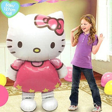 114*70cm Large Hello Kitty Cat Foil Balloon Festival Decoration Cartoon Wedding Birthday Party Decoration Inflatable Balloon