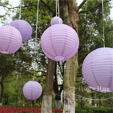 7pcs/Set Lavender Paper Lantern Mixed Sizes (4inch-16inch)Paper Crafts Chinese Round Ball Lanterns Valentine's Day Decoration(China)