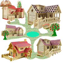 DIY Wooden Building Blocks Manual Assembly Wood Blocks Toys 3D Model House Educational Toys for Children(China)