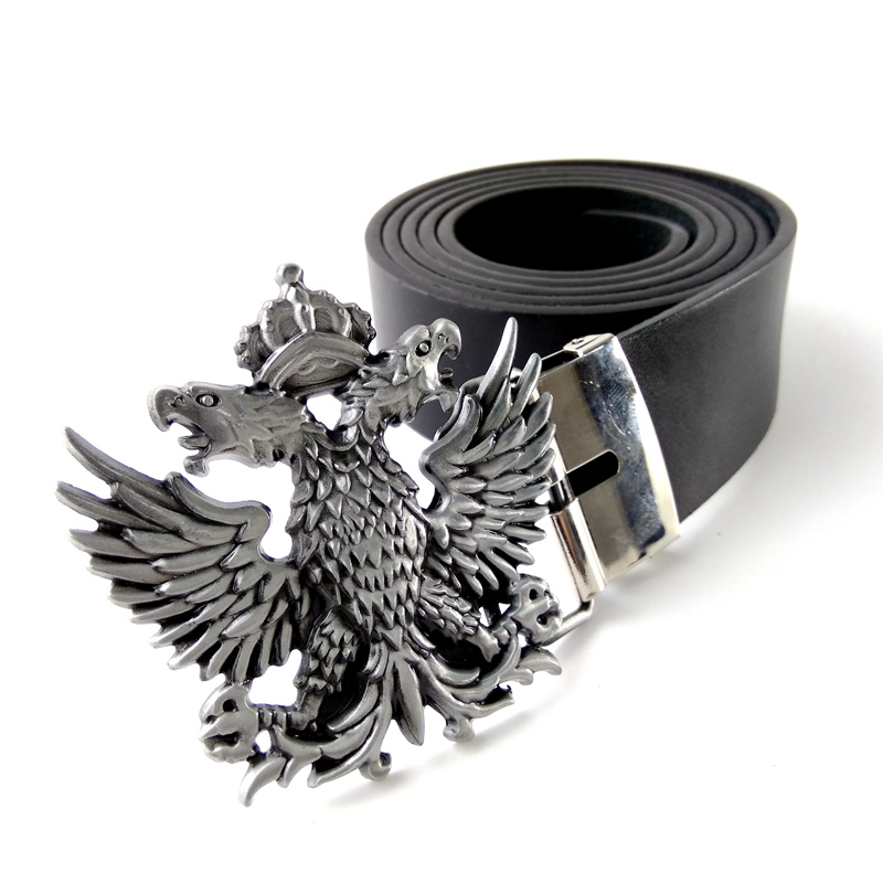 Designer belts men high Black PU leather belt Russian Double headed eagle logo metal buckle casual belt