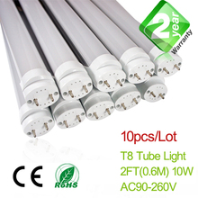 Free Shipping 10pcs/Lot 2ft T8 LED Fluorescent Tube Light 600mm 10W 900LM CE & RoSH 2 Year Warranty SMD2835 Epistar