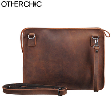 OTHERCHIC Crazy Horse Genuine Leather Bags Men Clutch Bags Vintage High Quality Messenger Bag Crossbody Bag iPad Case 7N06-21