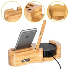 Multifunctional 4 in 1 Natural Bamboo Wood Stand for Amazon Echo Speaker Universal Phone Holder for iPhone 7 for Samsung S8
