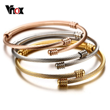 Vnox Stainless Steel Triple Three Cable Wire Twisted Cuff Bangle Bracelets Set for Women Adjustable Bangle Bracelets 3 Colors(China)