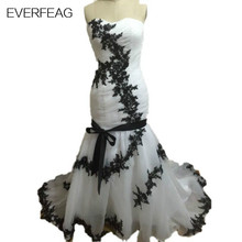 EVERFEAG Real Photo Mermaid Black and White Wedding Dresses 2017 Lace Up Custom Made Bridal Gown
