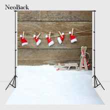 NeoBack 3X5ft 5x7ft Christmas Hat vinyl Cloth Photo background fondo Christmas hat Photo backdrop kinder hintergrunde P0963(China)