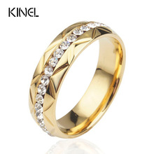 Kinel Vintage Jewelry Commitment Of Love Wedding Rings Stainless Steel   Gold Color Inlay Crystal Ring For Women
