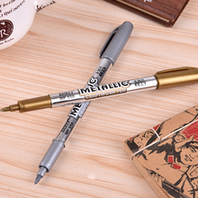 2 PCS Metallic Color Pen DIY Album Scrapbooking Invitation Card Photo Marker Pen Stationery Papelaria School Supplies