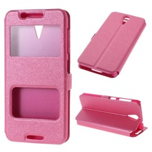for HTC Desire Leather Case Dual View Window for HTC Desire 620 Dual Sim / 820 Mini D820mu - Pink
