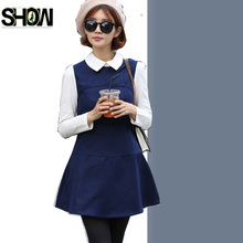 Cute Sweet Dresses New Design Women Fashion Long Sleeve Preppy Style Slim Patchwork Girl Peter Pan Collar Mini A Line Dress 9211(China)