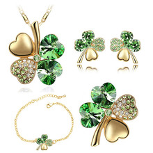 free shipping Necklace earrings bracelet brooch charm girl quality gold Crystal Clover 4 Leaf heart Pendant fashion jewelry set(China)