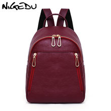 Fashion Women Backpack High Quality PU Leather Mochila School Bags For  Teenagers Girls Backpack Female Travel bag bagpack Red 196aefef8d