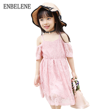 2017 summer baby girls cute hollow lace dresses for children polyester off shoulder white pink kids casual sundress FE148