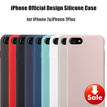 For iPhone 8 7 Plus Original 1:1 Silicone Copy Case Official Design Slim Lightweight Capa Silicon Phone Bag with logo Cover