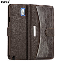 IDOOLS Note3 Fashion Business Luxury Flip PU Leather Case for Samsung Galaxy Note 3 N9000 with Plastic Back Cover Card Holder(China)