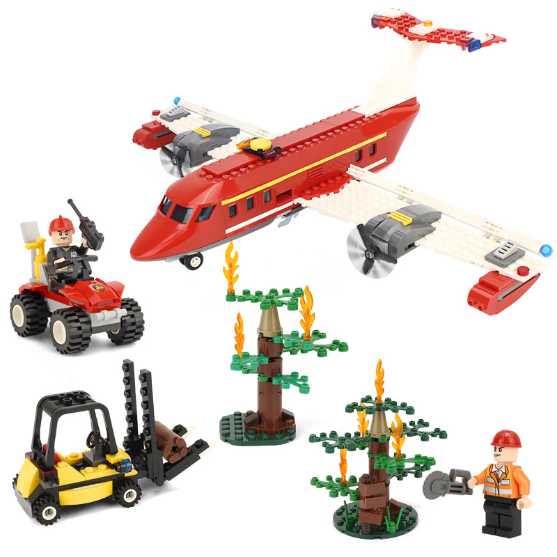 KAZI Fire Rescue Airplane Action Model Building Block Set Brick Classic Collectible Creative Educational Toys For Children <br>