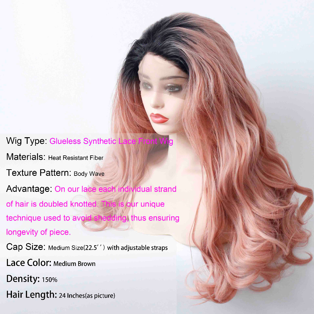 Synthetic Lace Front Ombre Peach Red Wig for Women Long Wavy Heat Resistant Pink Hair Glueless Hair Replace Daily Wig-38