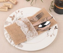 Buy free Christmas wedding linen tableware bag linen lace knife fork bag for $39.90 in AliExpress store