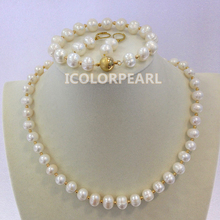 Wholesale Price For 9-10mm Potato White Real Natural Freshwater Pearl And 14K Gold Plated Bead Jewelry Set.(China)